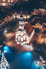 Preview iPhone wallpaper Lithuania, Kaunas, city night, lights, top view
