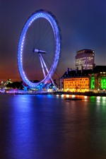 미리보기 iPhone 배경 화면 런던, 잉글랜드, 도시, 밤, 강, 관람차