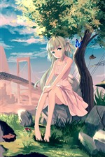 Lonely anime girl, tree, butterfly, broken bridge