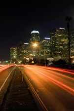 Preview iPhone wallpaper Los Angeles, city, skyscrapers, road, light lines, night, USA