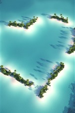 Preview iPhone wallpaper Love heart, beach, sea, palm trees, boat, top view