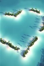 Love heart, beach, sea, palm trees, boat, top view