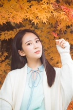 Preview iPhone wallpaper Lovely Chinese girl, long hair, maple leaves, autumn