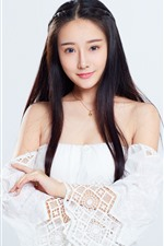 Preview iPhone wallpaper Lovely Chinese girl, long hair, white background