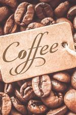 Muitos grãos de café, cartão de etiqueta