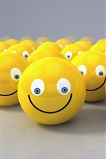 Preview iPhone wallpaper Many yellow smiley face, 3D design