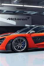 McLaren Senna orange supercar side view