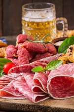 Preview iPhone wallpaper Meat, sausage slicing, beer, tomatoes