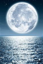 Lua, mar, brilhante