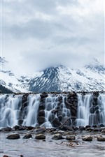 Mount Siguniang, snow, waterfall, stones, China