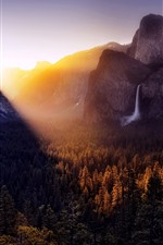 Preview iPhone wallpaper Mountains, forest, waterfall, sunrise, fog, autumn
