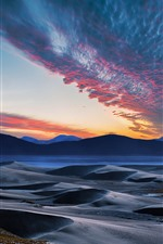 Preview iPhone wallpaper Mountains, hills, river, sky, clouds, sunset