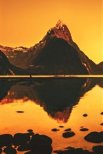 Preview iPhone wallpaper Mountains, lake, water reflection, dusk