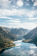 Preview iPhone wallpaper Mountains, river, clear water, sky, clouds