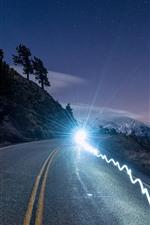 Mountains, road, glare headlight, dusk