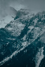 Preview iPhone wallpaper Mountains, rocks, snow, winter, fog