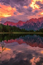 Preview iPhone wallpaper Mountains, trees, clouds, sunset, lake, water reflection