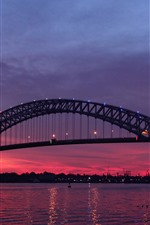 Preview iPhone wallpaper New Jersey, USA, bridge, river, night