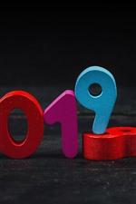 미리보기 iPhone 배경 화면 새해 2019 년, 다채로운 숫자