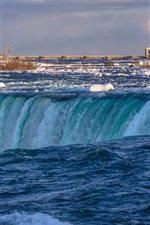 Preview iPhone wallpaper Niagara Falls, Canada, water, snow, bridge, winter