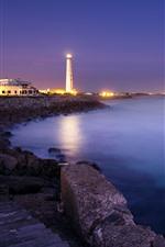 Night, coast, sea, lighthouse, lights