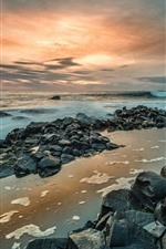 Preview iPhone wallpaper Northern Ireland, Giant's Causeway, rocks, sea, sunset