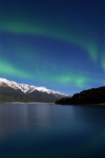 Northern light, lake, mountains, nature landscape
