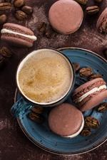 Preview iPhone wallpaper One cup coffee, macaron, food