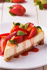 Preview iPhone wallpaper One slice cake, strawberry