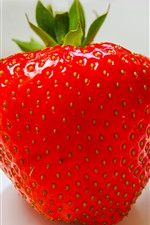 Preview iPhone wallpaper One strawberry close-up, white background