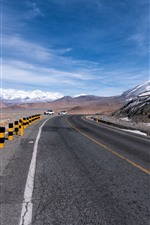 Preview iPhone wallpaper Pamirs, mountains, snow, road, cars