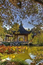 Preview iPhone wallpaper Park, pond, gazebo, willows, China