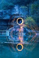 Park, pond, waterfall, sparks