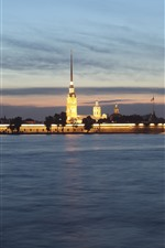 Preview iPhone wallpaper Peter and Paul Fortress, St. Petersburg, Russia, night, river