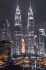 Preview iPhone wallpaper Petronas Towers, Kuala Lumpur, Malaysia, night, lights