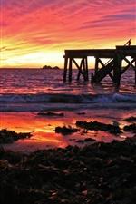 Pier, sunset, sea, red sky