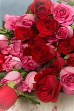 iPhone壁紙のプレビュー ピンクと赤のバラ、花、バスケット