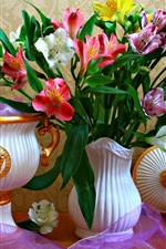 Preview iPhone wallpaper Pink and white lilies, vase, flowers