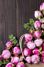 Preview iPhone wallpaper Pink roses, flowers, wood board