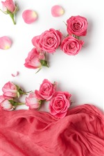 Preview iPhone wallpaper Pink roses, petals, silk, white background