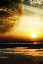 Preview iPhone wallpaper Planet, round ring, sea, sunset, creative picture
