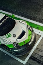 Preview iPhone wallpaper Porsche 911 GT3 R race car top view
