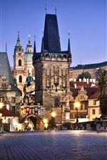 Preview iPhone wallpaper Prague, Czech Republic, Charles Bridge, city night, buildings, lights