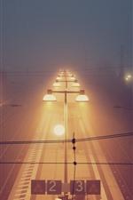 Preview iPhone wallpaper Rail station, night, lighting, fog