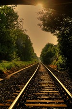 Preview iPhone wallpaper Railroad, track, trees, sun rays, tunnel