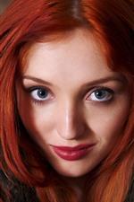 Menina vermelha do cabelo, face, olhos