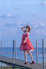 Preview iPhone wallpaper Red skirt girl look back, bridge, river, windmill