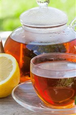 Preview iPhone wallpaper Red tea, lemon, kettle, cup