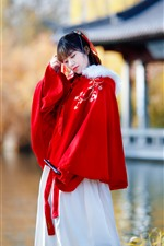 Preview iPhone wallpaper Retro style Chinese girl, red dress, lake, park