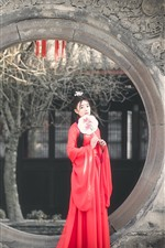 Preview iPhone wallpaper Retro style Chinese girl, red skirt, Han dynasty